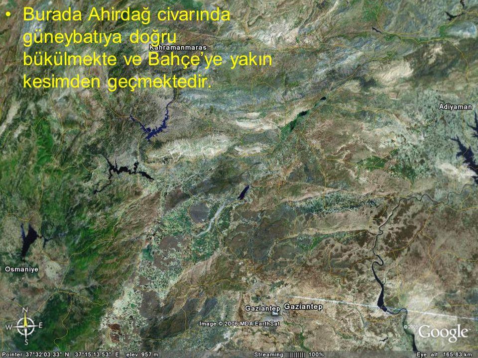NEOTEKTONİK Doç.Dr. Yaşar EREN Burada Ahirdağ civarında güneybatıya doğru bükülmekte ve Bahçe'ye yakın kesimden geçmektedir.