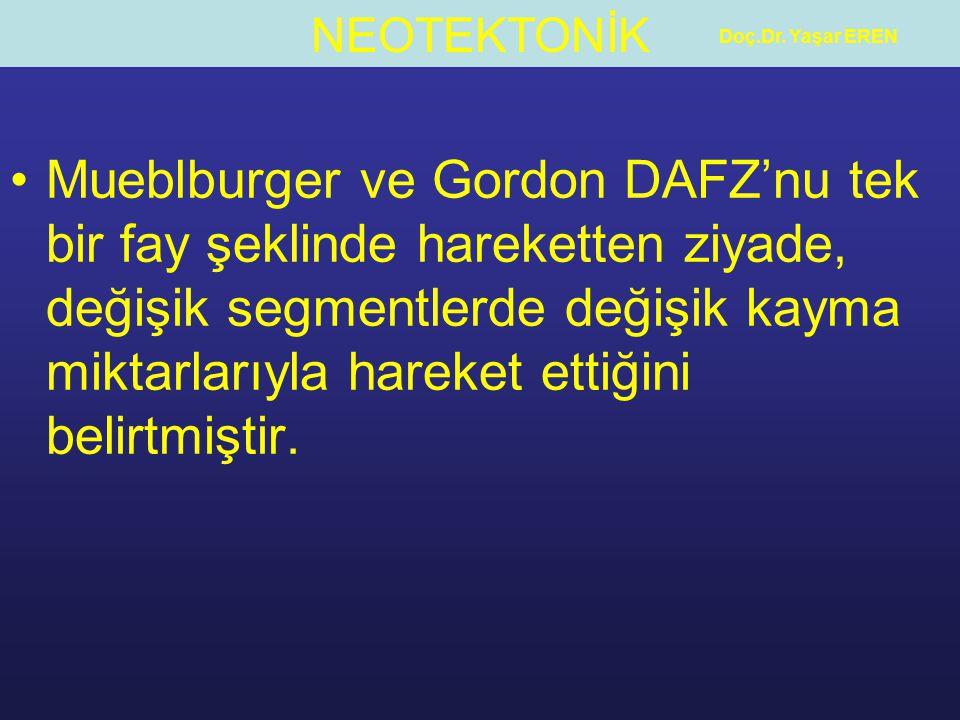 NEOTEKTONİK Doç.Dr. Yaşar EREN Mueblburger ve Gordon DAFZ'nu tek bir fay şeklinde hareketten ziyade, değişik segmentlerde değişik kayma miktarlarıyla