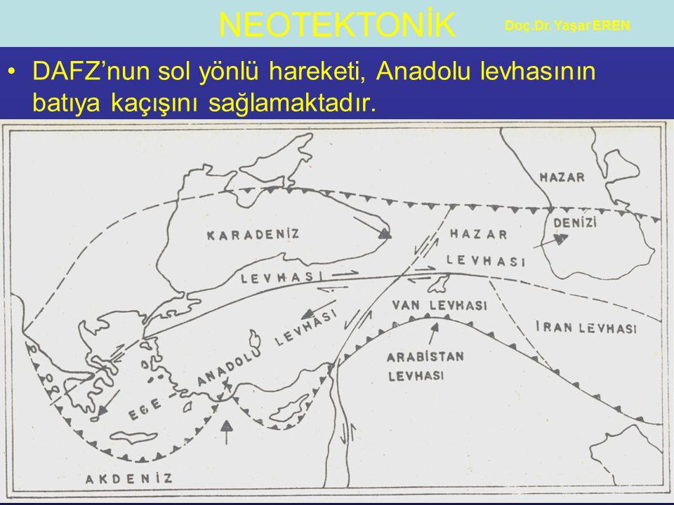 NEOTEKTONİK Doç.Dr. Yaşar EREN DAFZ'nun sol yönlü hareketi, Anadolu levhasının batıya kaçışını sağlamaktadır.