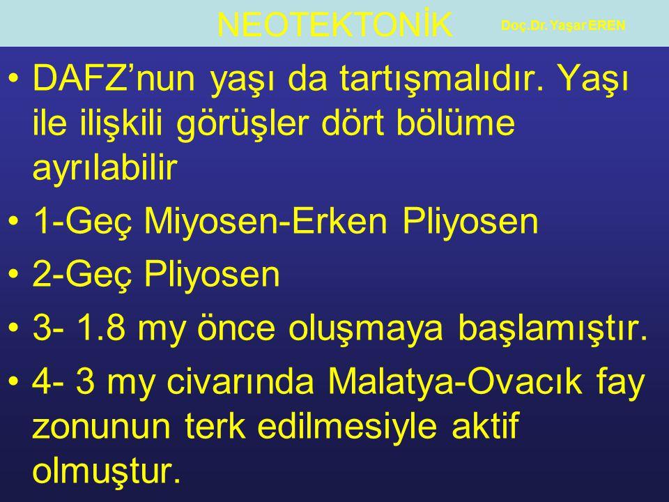 NEOTEKTONİK Doç.Dr.Yaşar EREN DAFZ'nun yaşı da tartışmalıdır.
