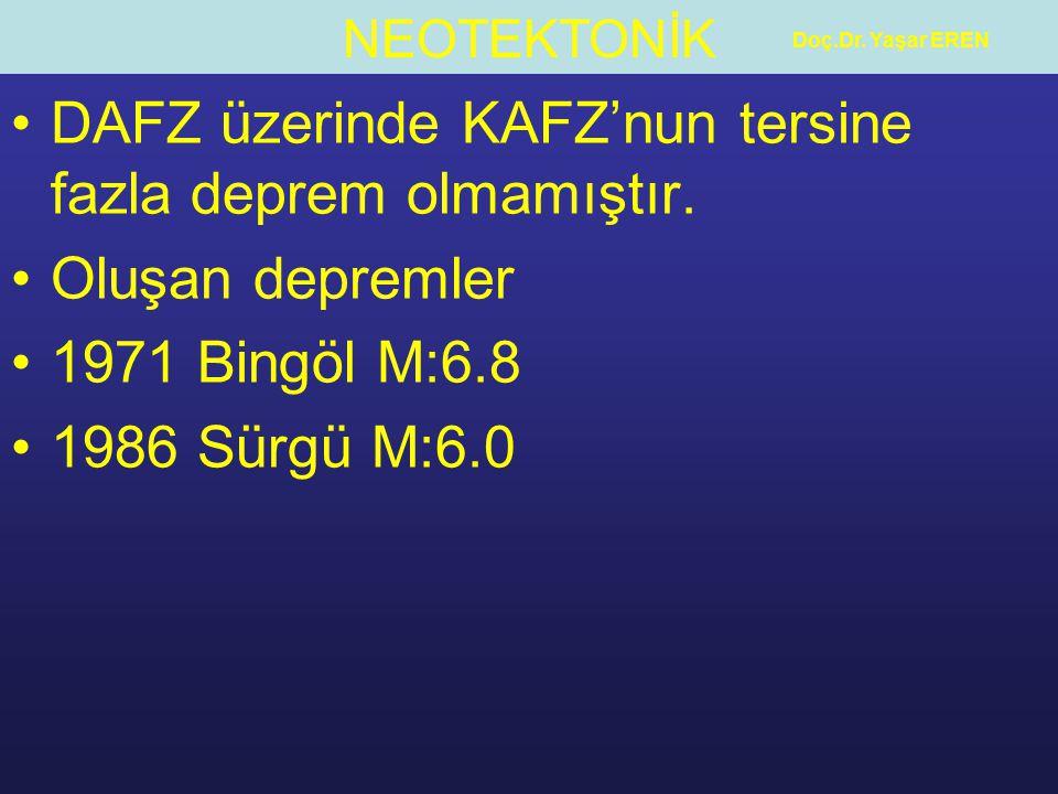 NEOTEKTONİK Doç.Dr. Yaşar EREN DAFZ üzerinde KAFZ'nun tersine fazla deprem olmamıştır. Oluşan depremler 1971 Bingöl M:6.8 1986 Sürgü M:6.0