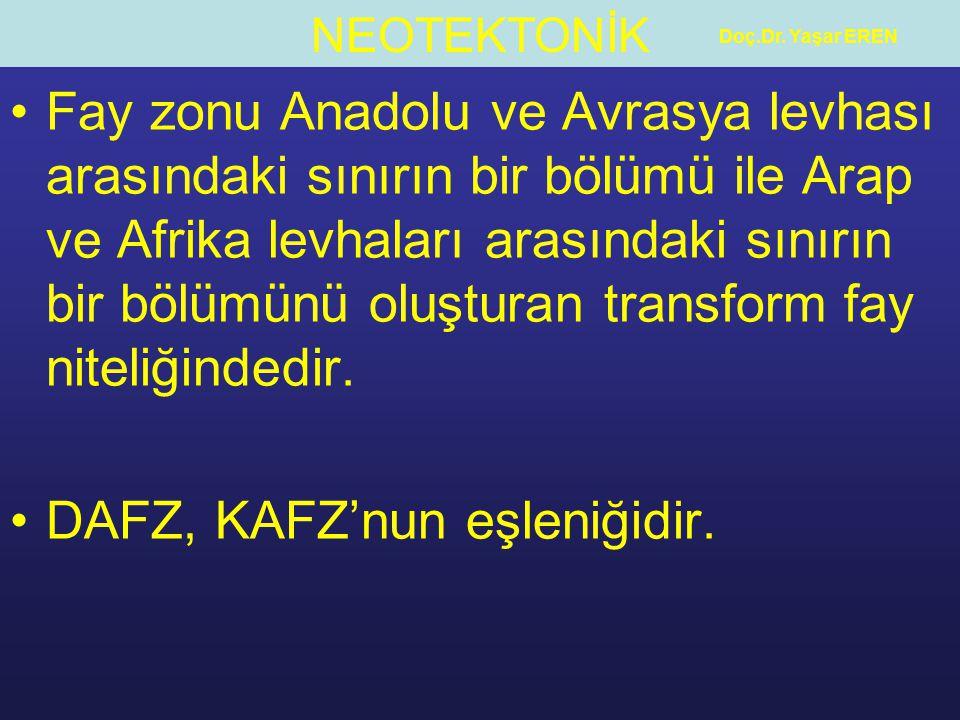 NEOTEKTONİK Doç.Dr. Yaşar EREN Fay zonu Anadolu ve Avrasya levhası arasındaki sınırın bir bölümü ile Arap ve Afrika levhaları arasındaki sınırın bir b