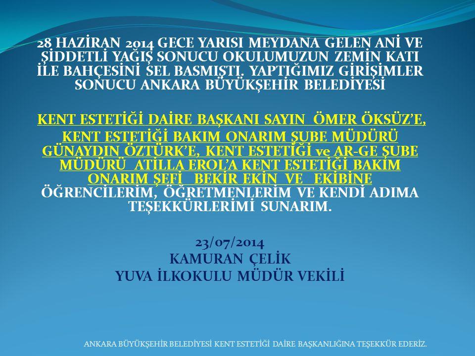 28 HAZİRAN 2014 GECE YARISI MEYDANA GELEN ANİ VE ŞİDDETLİ YAĞIŞ SONUCU OKULUMUZUN ZEMİN KATI İLE BAHÇESİNİ SEL BASMIŞTI.
