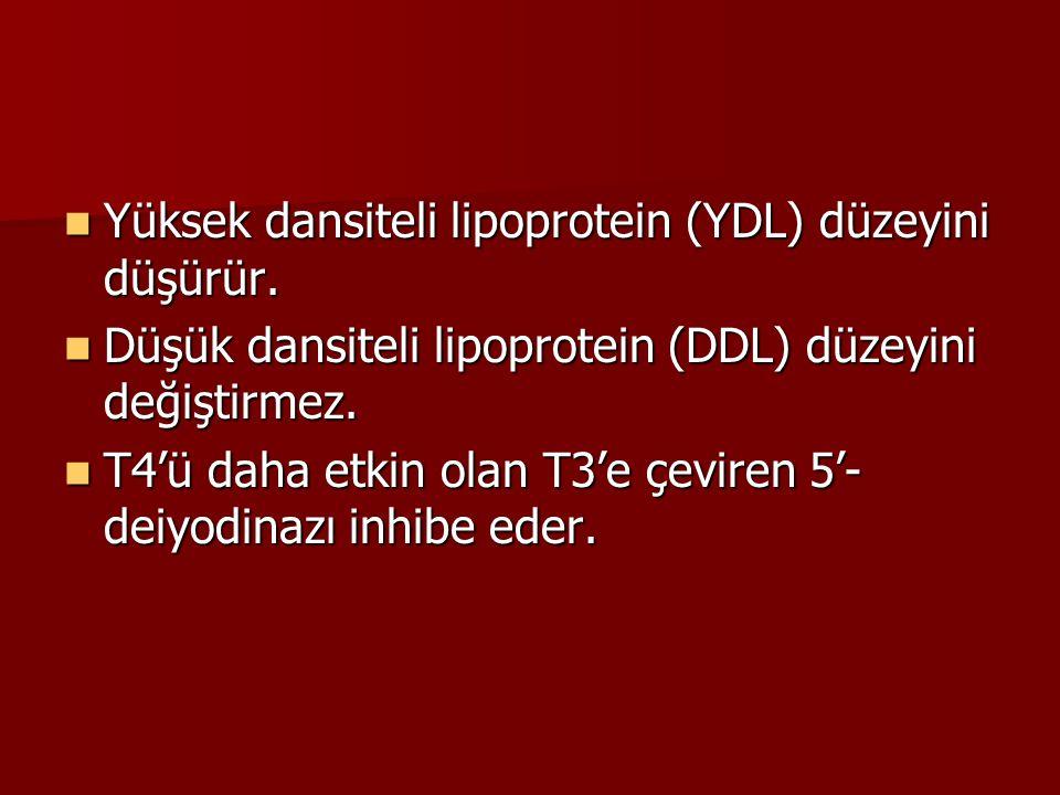 Yüksek dansiteli lipoprotein (YDL) düzeyini düşürür. Yüksek dansiteli lipoprotein (YDL) düzeyini düşürür. Düşük dansiteli lipoprotein (DDL) düzeyini d