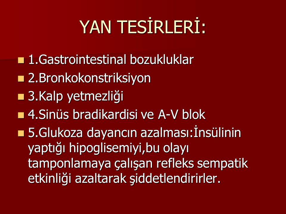 YAN TESİRLERİ: 1.Gastrointestinal bozukluklar 1.Gastrointestinal bozukluklar 2.Bronkokonstriksiyon 2.Bronkokonstriksiyon 3.Kalp yetmezliği 3.Kalp yetm