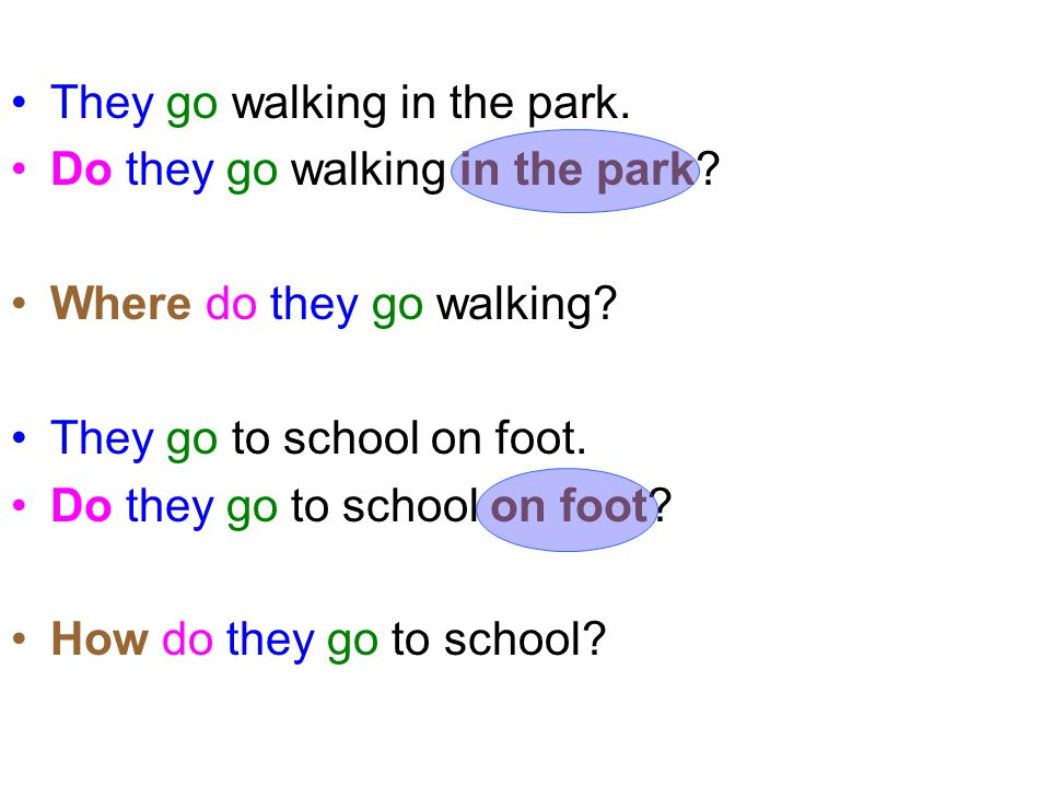 They go walking in the park. Do they go walking in the park? Where do they go walking? They go to school on foot. Do they go to school on foot? How do