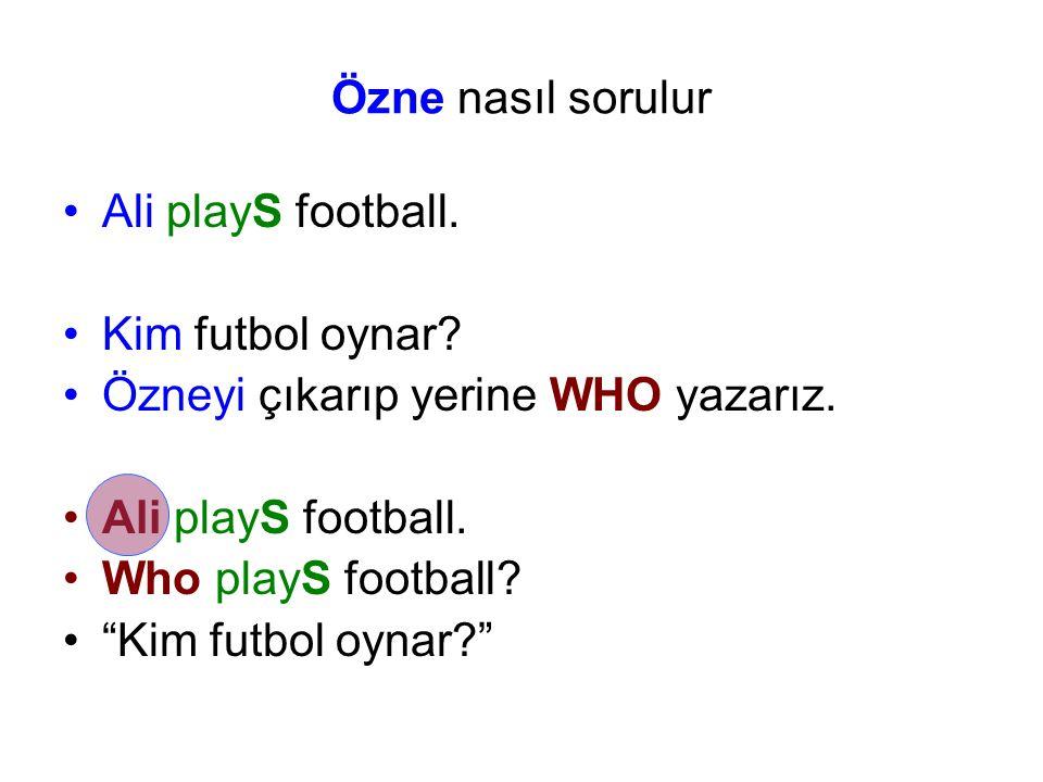 Özne nasıl sorulur Ali playS football.Kim futbol oynar.
