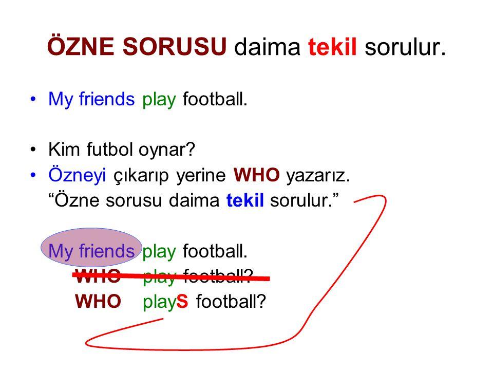 ÖZNE SORUSU daima tekil sorulur.My friends play football.