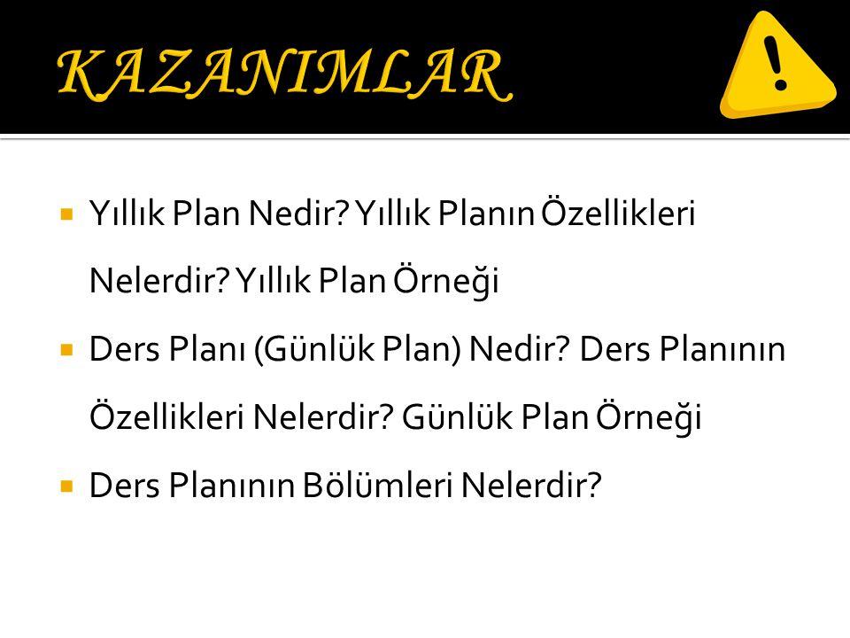  Yıllık Plan Nedir.Yıllık Planın Özellikleri Nelerdir.