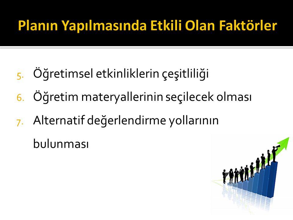 5.Öğretimsel etkinliklerin çeşitliliği 6. Öğretim materyallerinin seçilecek olması 7.