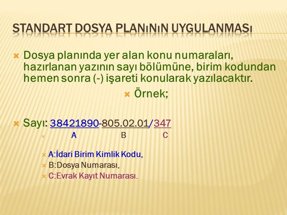  Dosya planında yer alan konu numaraları, hazırlanan yazının sayı bölümüne, birim kodundan hemen sonra (-) işareti konularak yazılacaktır.  Örnek; 
