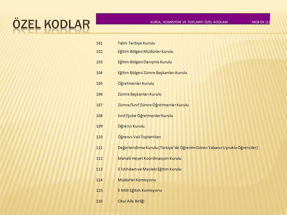 KURUL, KOMİSYON VE TOPLANTI ÖZEL KODLARI MEB-EK (1) 101 Talim Terbiye Kurulu 102 Eğitim Bölgesi Müdürler Kurulu 103 Eğitim Bölgesi Danışma Kurulu 104