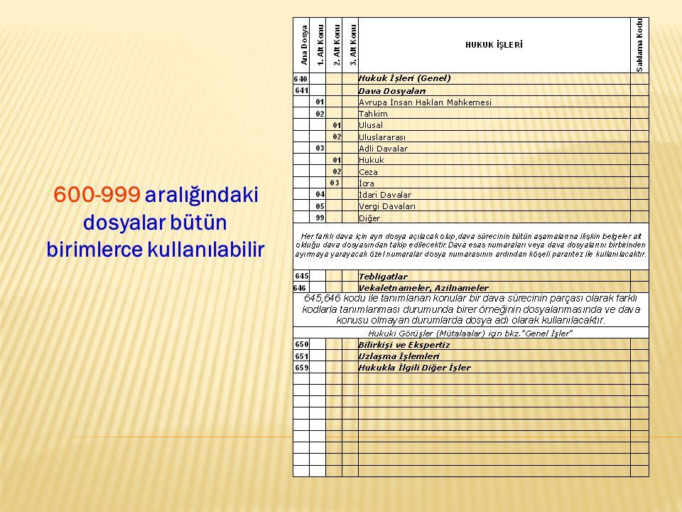 600-999 aralığındaki dosyalar bütün birimlerce kullanılabilir