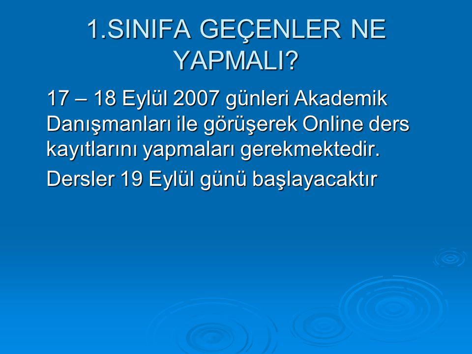 1.SINIFA GEÇENLER NE YAPMALI? 17 – 18 Eylül 2007 günleri Akademik Danışmanları ile görüşerek Online ders kayıtlarını yapmaları gerekmektedir. Dersler