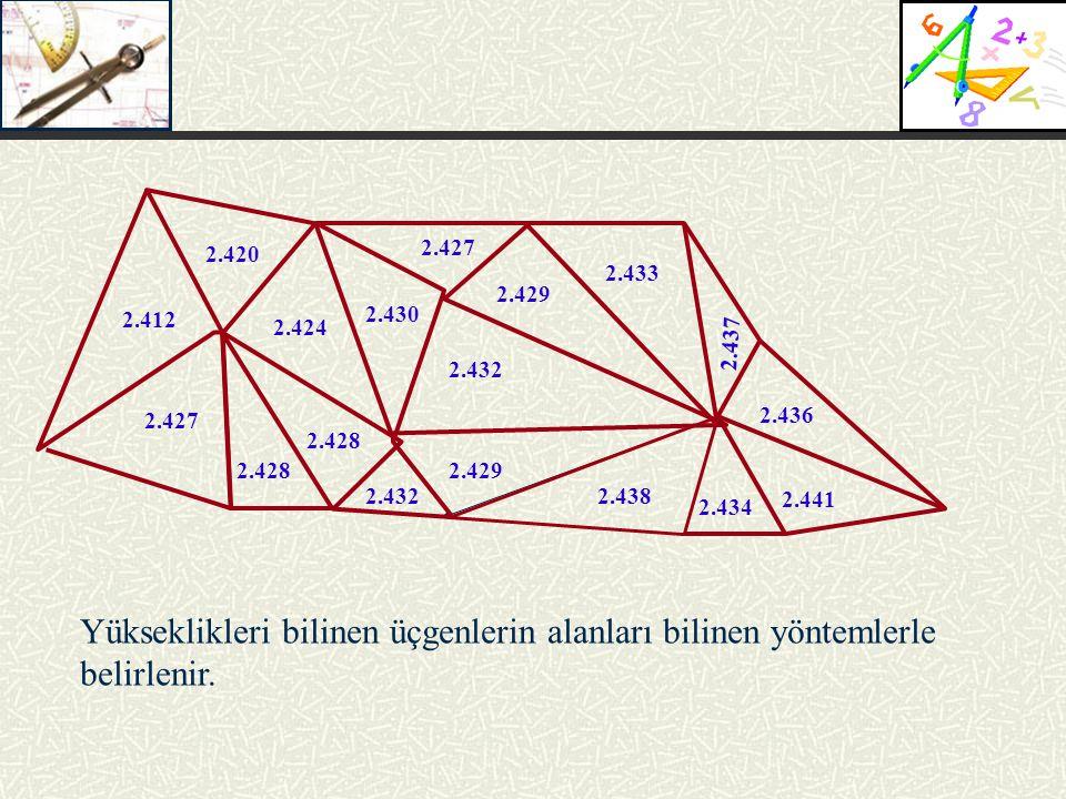 2.420 2.412 2.427 2.428 2.424 2.430 2.427 2.429 2.433 2.432 2.429 2.432 2.428 2.438 2.434 2.441 2.436 2.437 Yükseklikleri bilinen üçgenlerin alanları