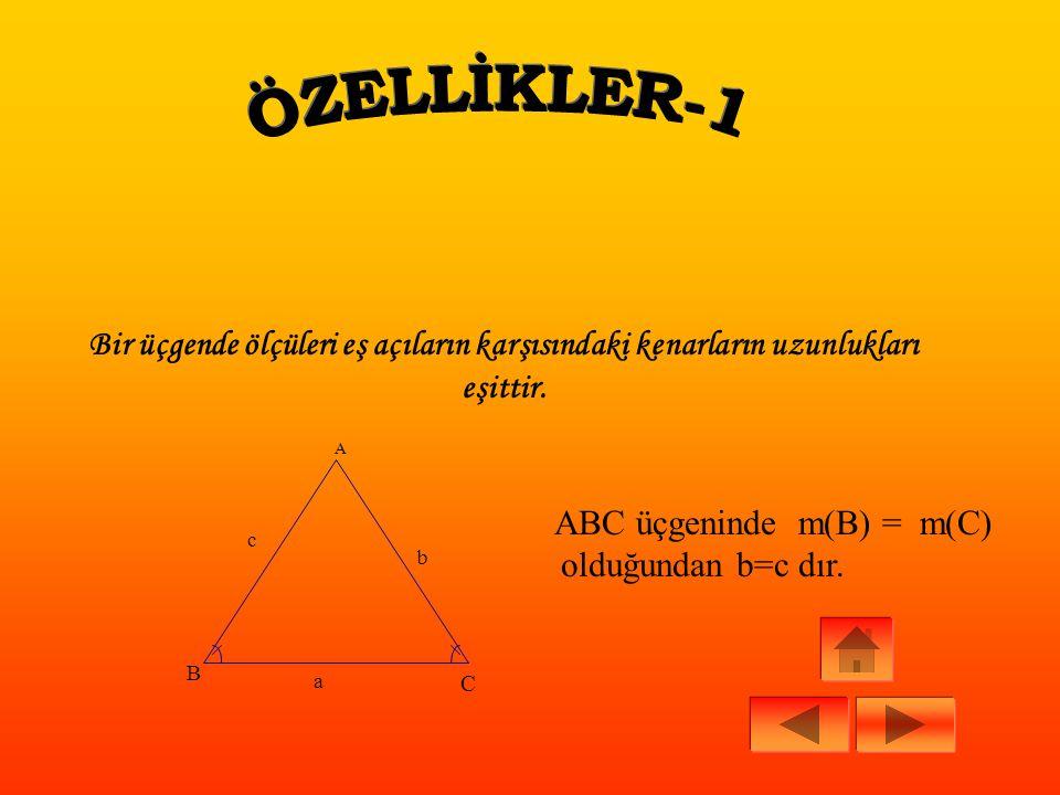 ÖRNEK: A B 10b P 69 ABC bir üçgen IABI=10cm IPBI = 6cm IPCI = 9cm IACI = x Yukarıdaki verilenlere göre, IACI =x alabileceği en küçük tamsayı değeri kaçtır.