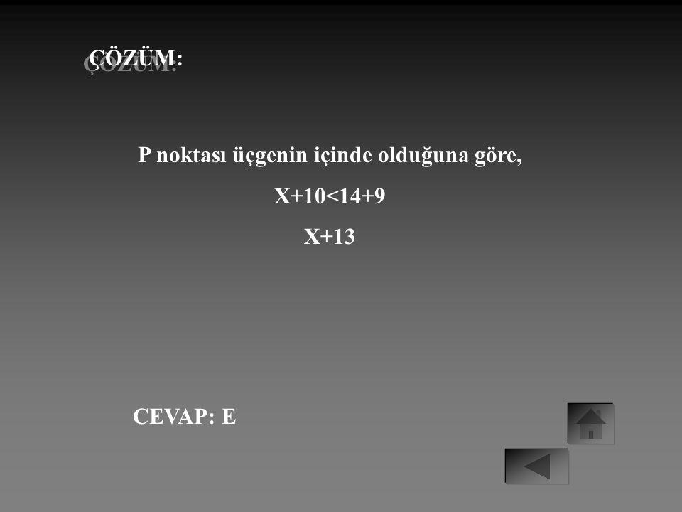 ÖRNEK: A B 10 14 P 6 9 ABC bir üçgen IACI= 14cm IABI=9cm IPCI = 10cm IPBI = x Yukarıdaki şekilde P noktası ABC üçgeninin içinde olduğuna göre, IPBI= x