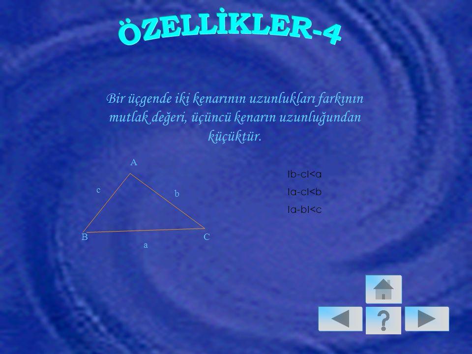 Bir üçgende iki kenarının uzunlukları farkının mutlak değeri, üçüncü kenarın uzunluğundan küçüktür.