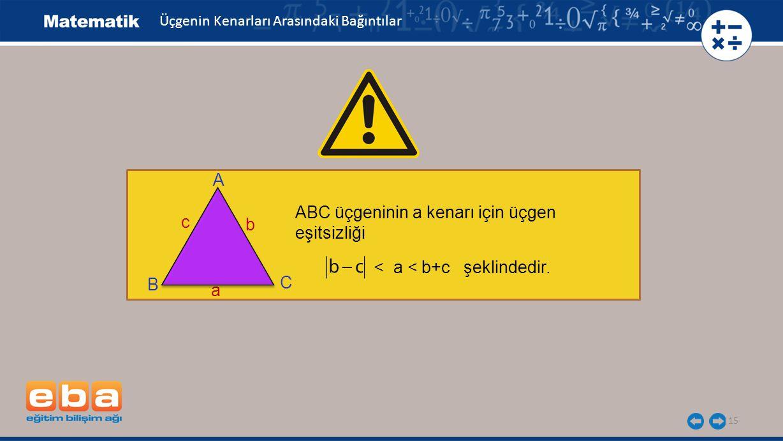 15 Üçgenin Kenarları Arasındaki Bağıntılar A C B b c a ABC üçgeninin a kenarı için üçgen eşitsizliği < a < b+c şeklindedir.