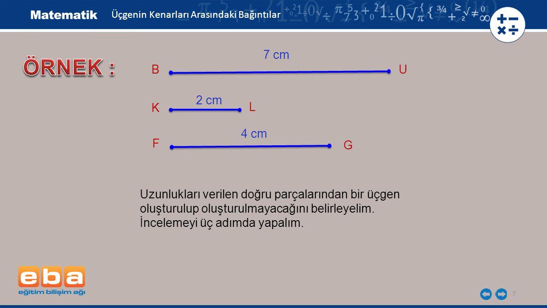 7 Üçgenin Kenarları Arasındaki Bağıntılar BU 7 cm K L 2 cm F G 4 cm Uzunlukları verilen doğru parçalarından bir üçgen oluşturulup oluşturulmayacağını