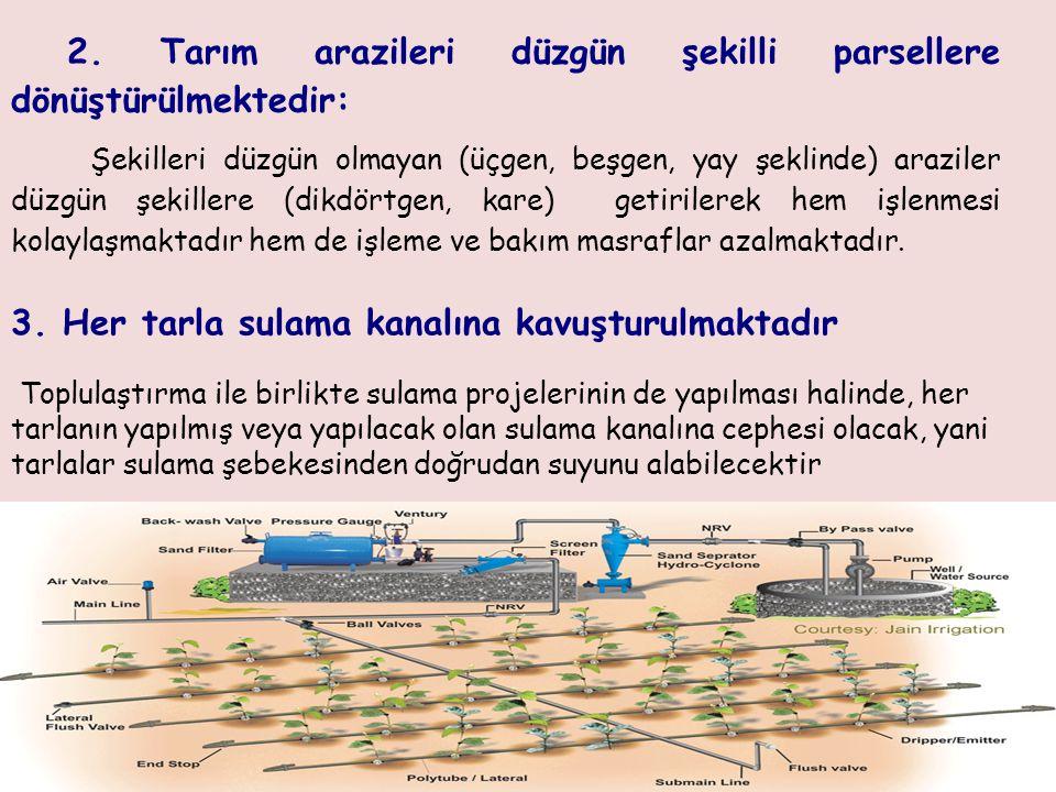 2. Tarım arazileri düzgün şekilli parsellere dönüştürülmektedir: Şekilleri düzgün olmayan (üçgen, beşgen, yay şeklinde) araziler düzgün şekillere (dik