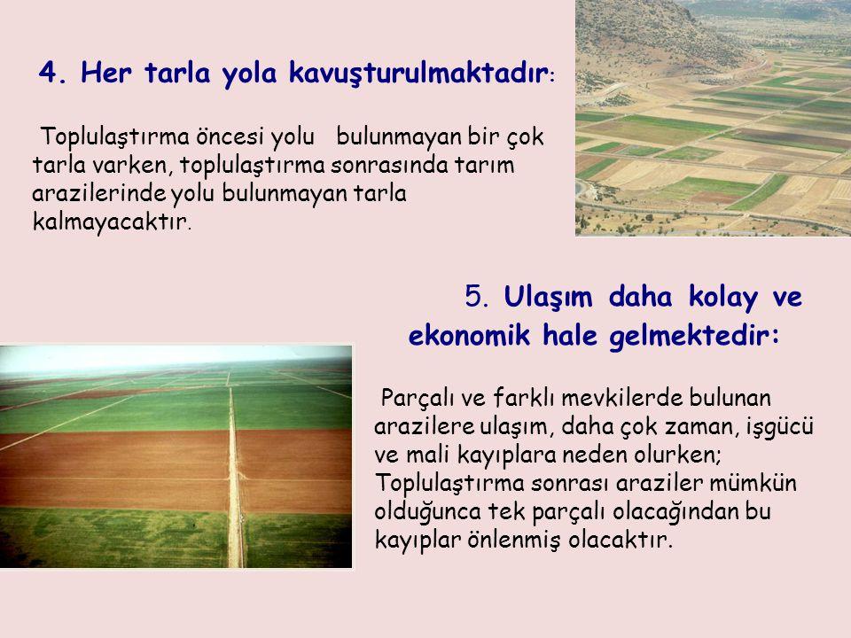 Toplulaştırma öncesi yolu bulunmayan bir çok tarla varken, toplulaştırma sonrasında tarım arazilerinde yolu bulunmayan tarla kalmayacaktır. 4. Her tar