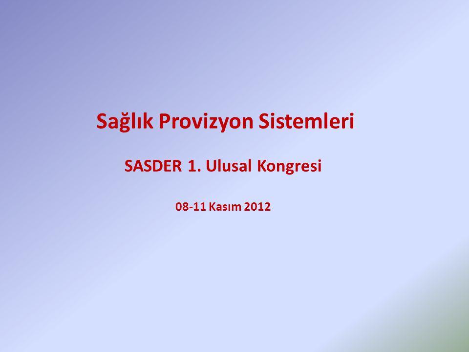 Sağlık Provizyon Sistemleri SASDER 1. Ulusal Kongresi 08-11 Kasım 2012