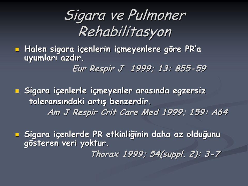 Sigara ve Pulmoner Rehabilitasyon Halen sigara içenlerin içmeyenlere göre PR'a uyumları azdır. Halen sigara içenlerin içmeyenlere göre PR'a uyumları a