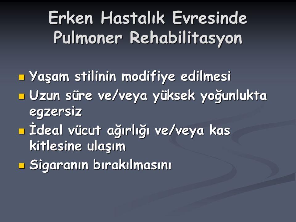Erken Hastalık Evresinde Pulmoner Rehabilitasyon Yaşam stilinin modifiye edilmesi Yaşam stilinin modifiye edilmesi Uzun süre ve/veya yüksek yoğunlukta