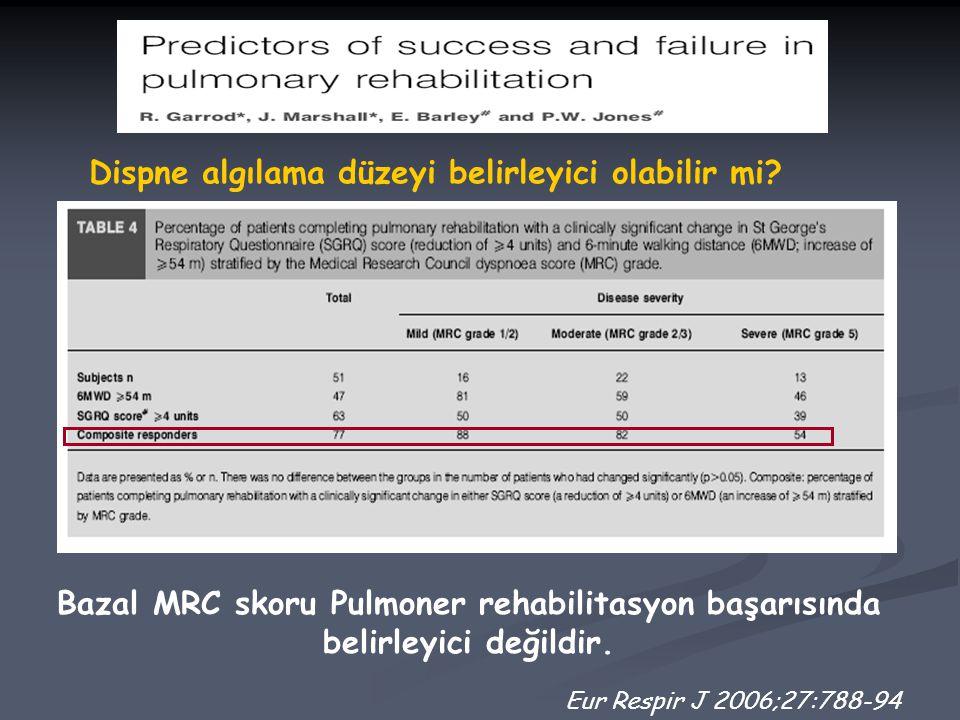 Eur Respir J 2006;27:788-94 Dispne algılama düzeyi belirleyici olabilir mi? Bazal MRC skoru Pulmoner rehabilitasyon başarısında belirleyici değildir.