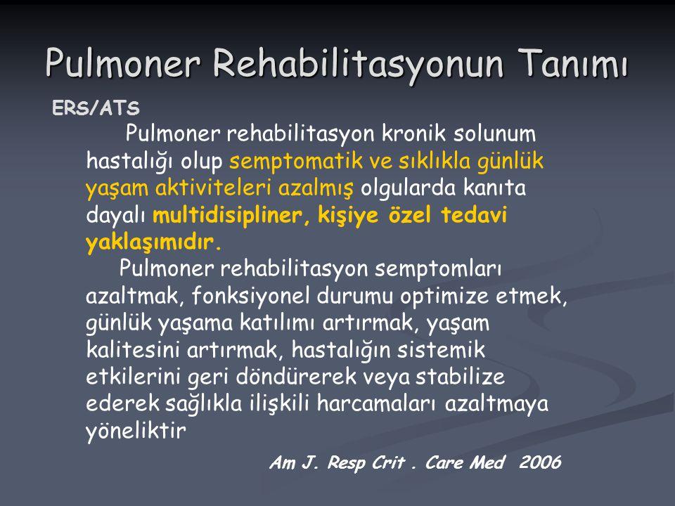 Pulmoner Rehabilitasyonun Tanımı ERS/ATS Pulmoner rehabilitasyon kronik solunum hastalığı olup semptomatik ve sıklıkla günlük yaşam aktiviteleri azalm