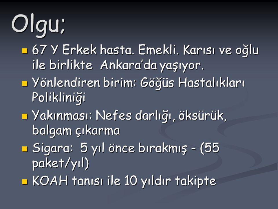 Olgu; 67 Y Erkek hasta. Emekli. Karısı ve oğlu ile birlikte Ankara'da yaşıyor. 67 Y Erkek hasta. Emekli. Karısı ve oğlu ile birlikte Ankara'da yaşıyor