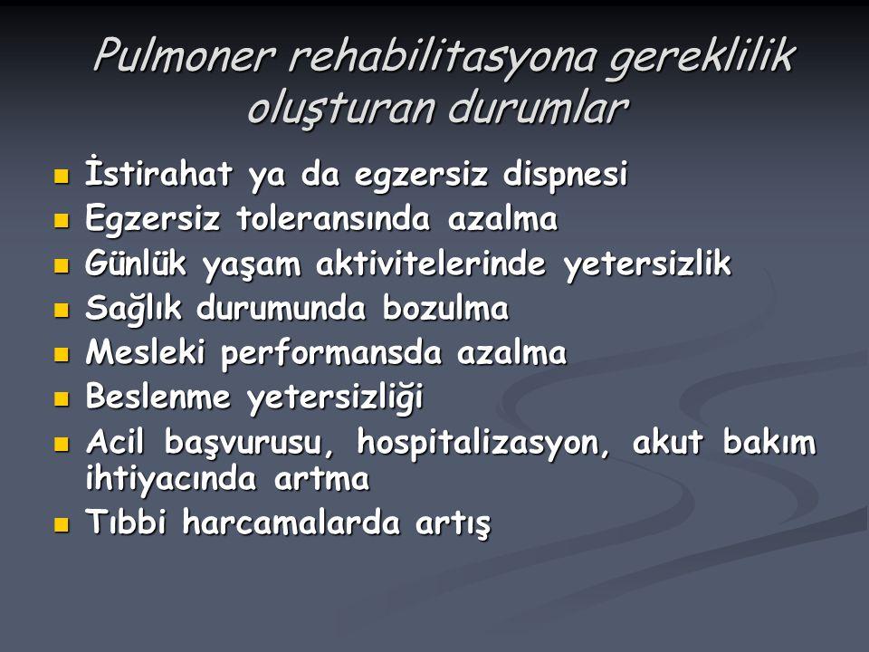 Pulmoner rehabilitasyona gereklilik oluşturan durumlar Pulmoner rehabilitasyona gereklilik oluşturan durumlar İstirahat ya da egzersiz dispnesi İstira