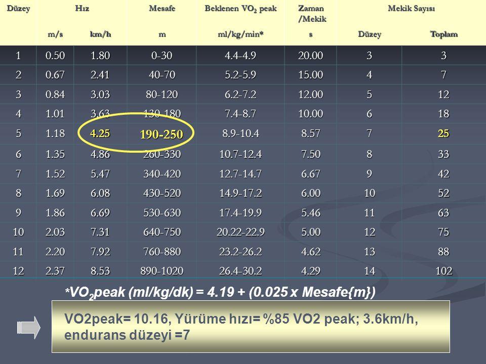 DüzeyHızMesafe Beklenen VO 2 peak Zaman /Mekik /Mekik Mekik Sayısı m/skm/hmml/kg/min*sDüzeyToplam 10.501.800-304.4-4.920.0033 20.672.4140-705.2-5.915.