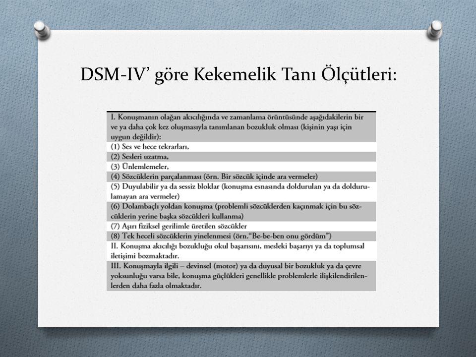 DSM-IV' göre Kekemelik Tanı Ölçütleri: