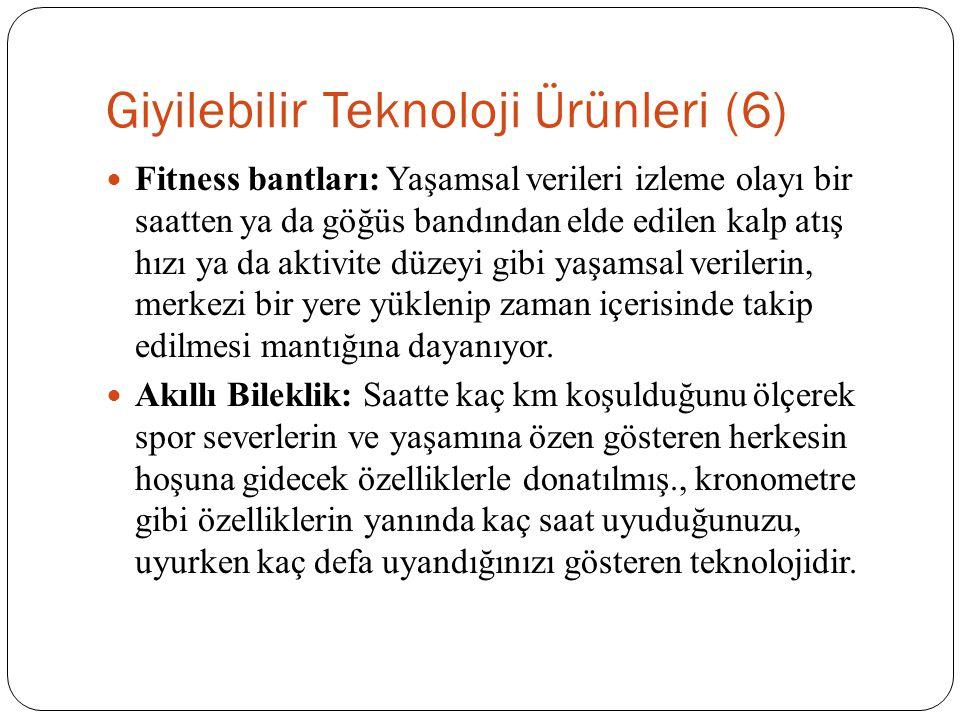Giyilebilir Teknoloji Ürünleri (6) Fitness bantları: Yaşamsal verileri izleme olayı bir saatten ya da göğüs bandından elde edilen kalp atış hızı ya da