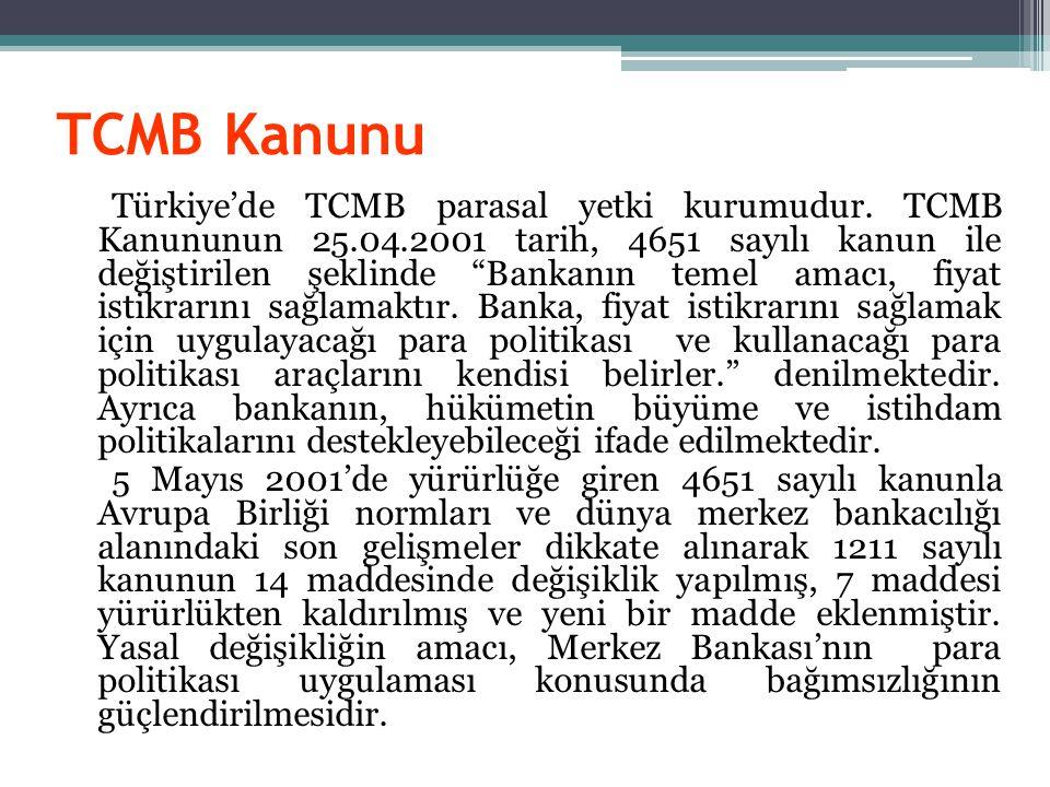 TCMB Kanunu Türkiye'de TCMB parasal yetki kurumudur.