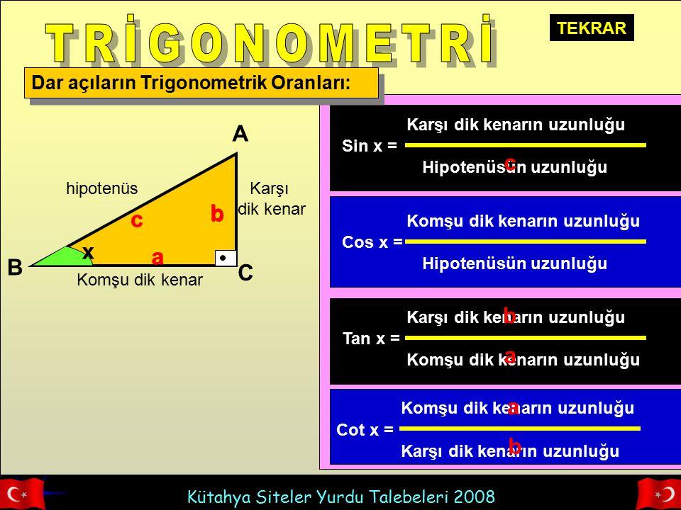 Kütahya Siteler Yurdu Talebeleri 2008 Dar açıların Trigonometrik Oranları: hipotenüs Komşu dik kenar Karşı dik kenar x A B C c b a Sin x = Karşı dik k