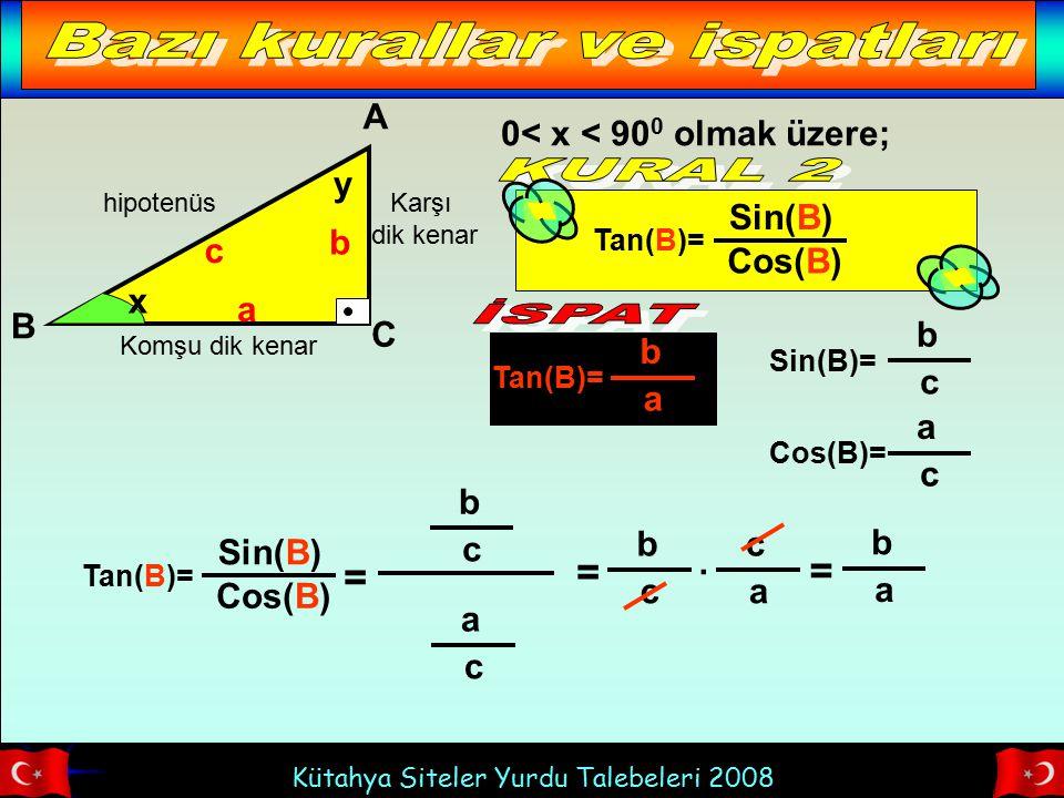 Kütahya Siteler Yurdu Talebeleri 2008 hipotenüs Komşu dik kenar Karşı dik kenar x A B C b a c Tan(B)= b a 0< x < 90 0 olmak üzere; y Tan(B)= Sin(B) Co