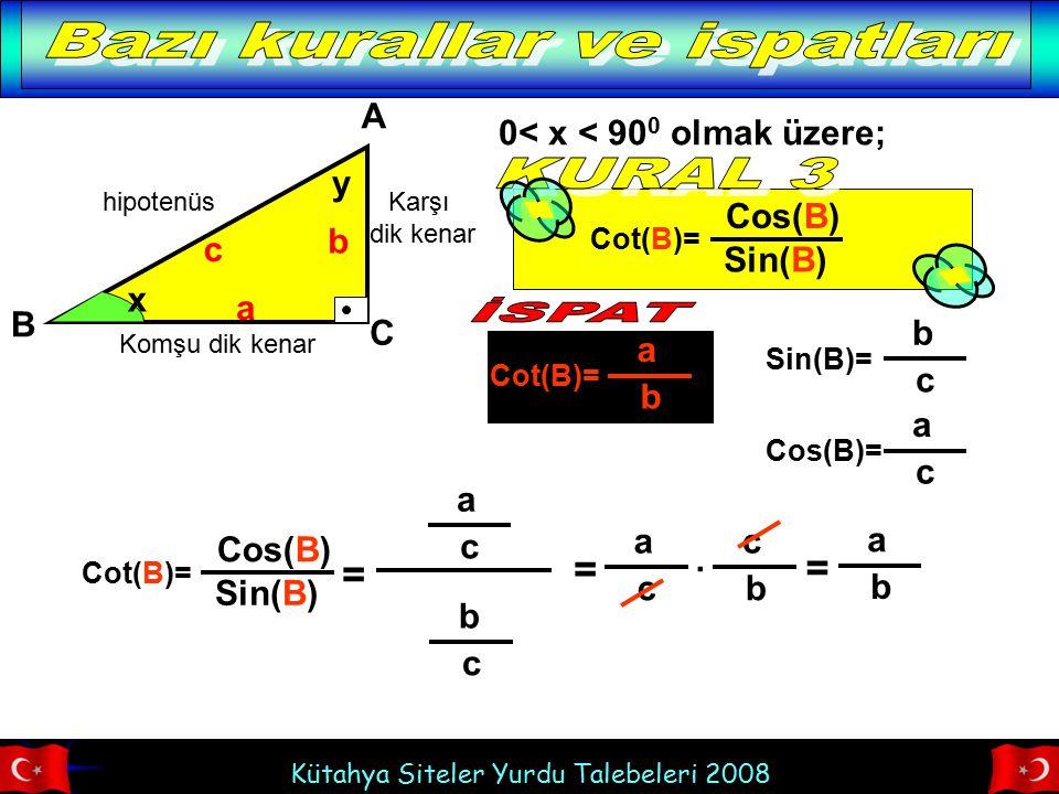 Kütahya Siteler Yurdu Talebeleri 2008 hipotenüs Komşu dik kenar Karşı dik kenar x A B C b a c Cot(B)= a b 0< x < 90 0 olmak üzere; y Cot(B)= Cos(B) Si