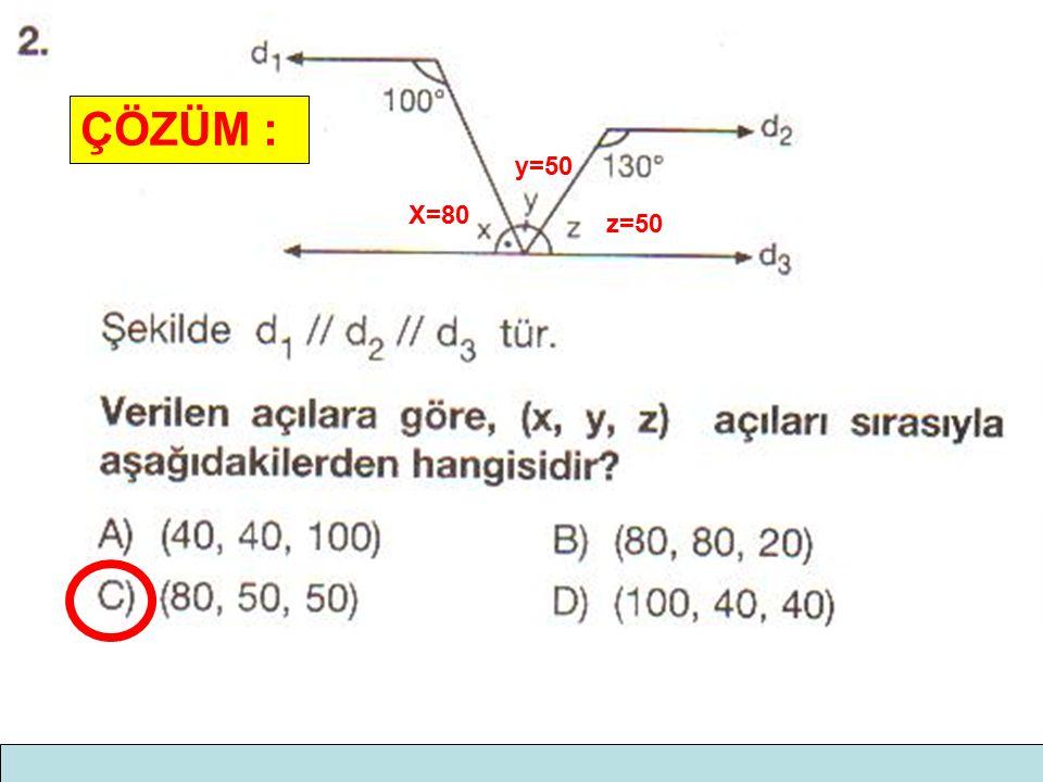 ÇÖZÜM : X=80 z=50 y=50