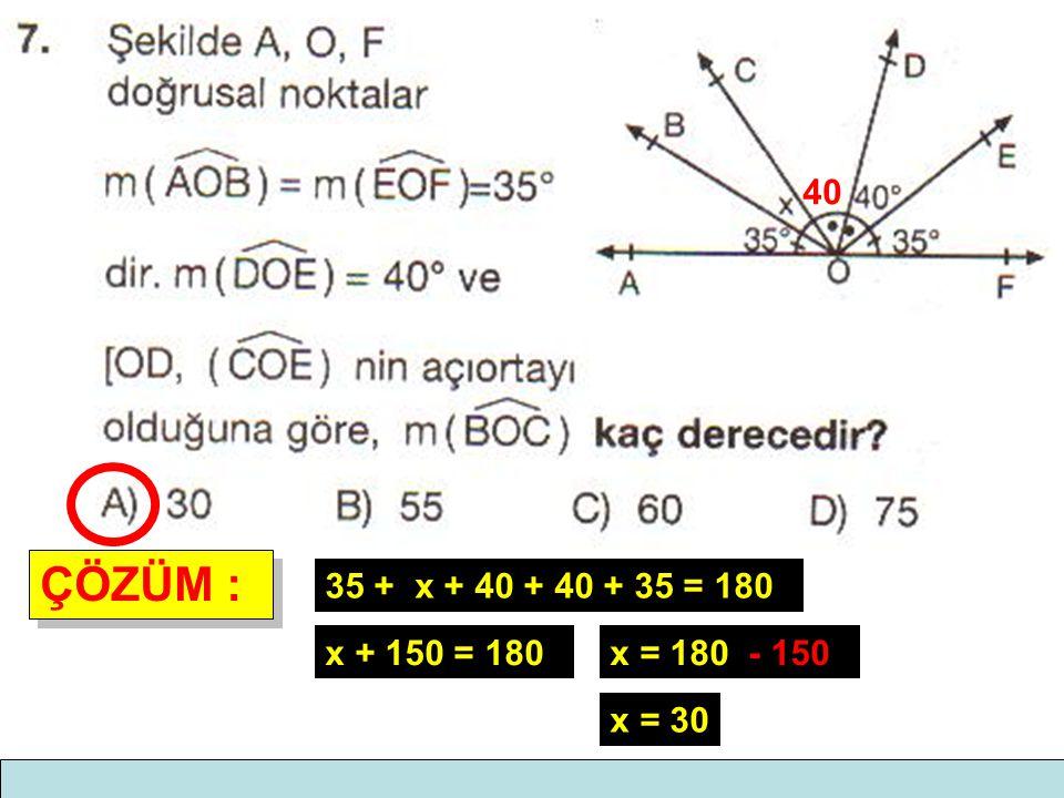 ÇÖZÜM : ÇÖZÜM : 40 35 + x + 40 + 40 + 35 = 180 x + 150 = 180x = 180 - 150 x = 30
