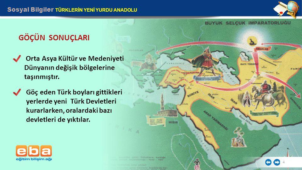Sosyal Bilgiler TÜRKLERİN YENİ YURDU ANADOLU 4 GÖÇÜN SONUÇLARI Göç eden Türk boyları gittikleri yerlerde yeni Türk Devletleri kurarlarken, oralardaki