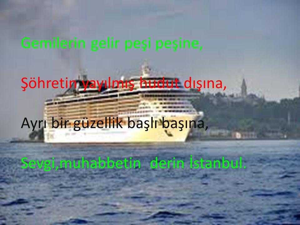 Gemilerin gelir peşi peşine, Şöhretin yayılmış hudut dışına, Ayrı bir güzellik başlı başına, Sevgi,muhabbetin derin İstanbul.