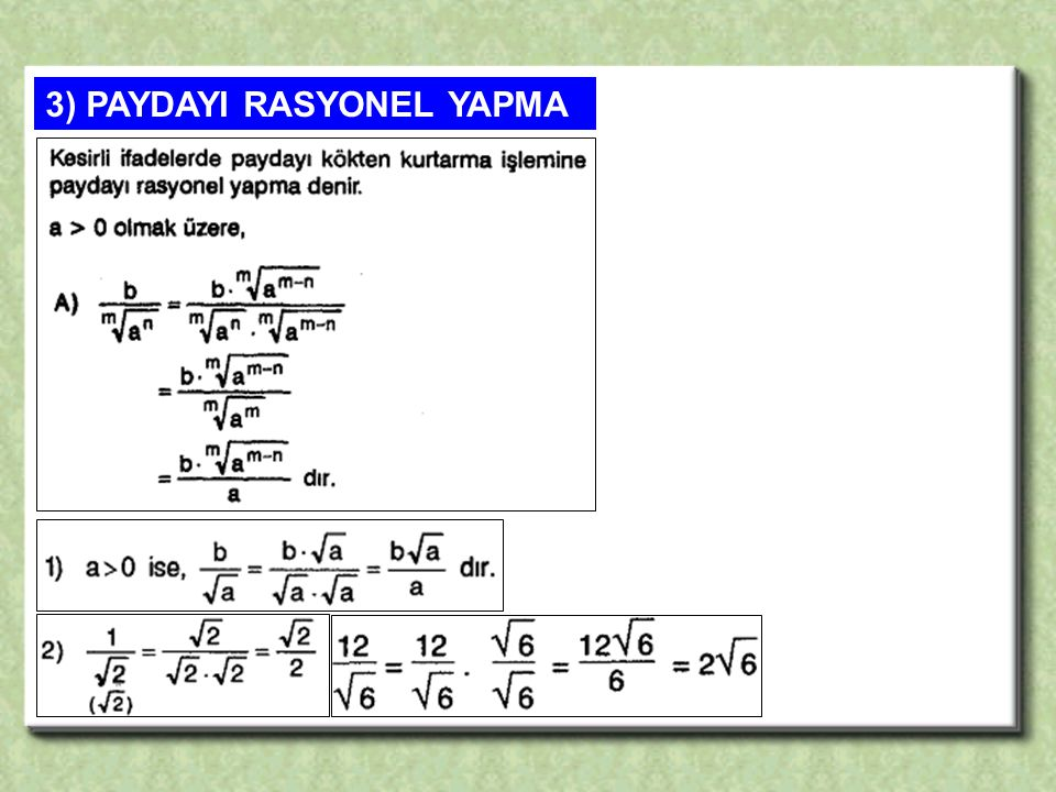 3) PAYDAYI RASYONEL YAPMA