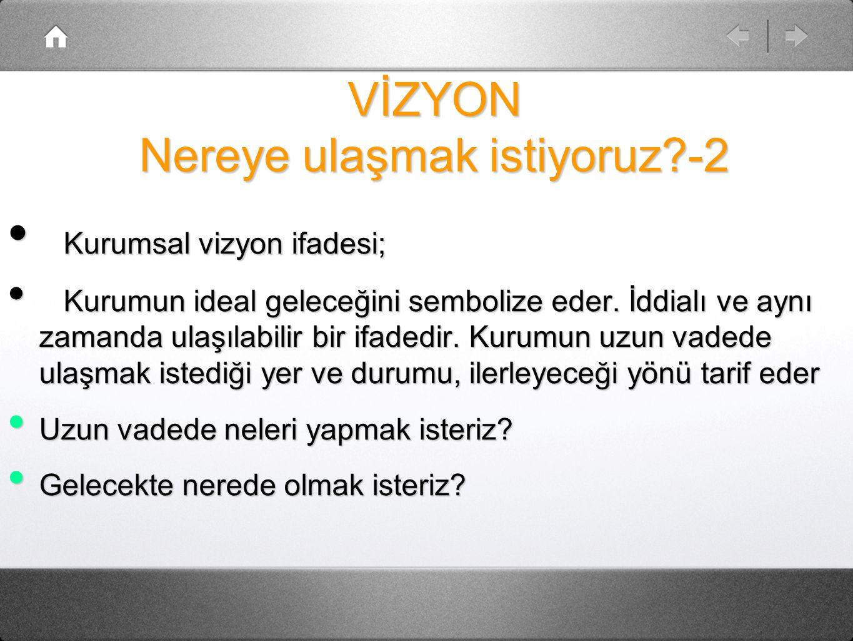 VİZYON Nereye ulaşmak istiyoruz?-2 Kurumsal vizyon ifadesi; Kurumsal vizyon ifadesi; Kurumun ideal geleceğini sembolize eder.
