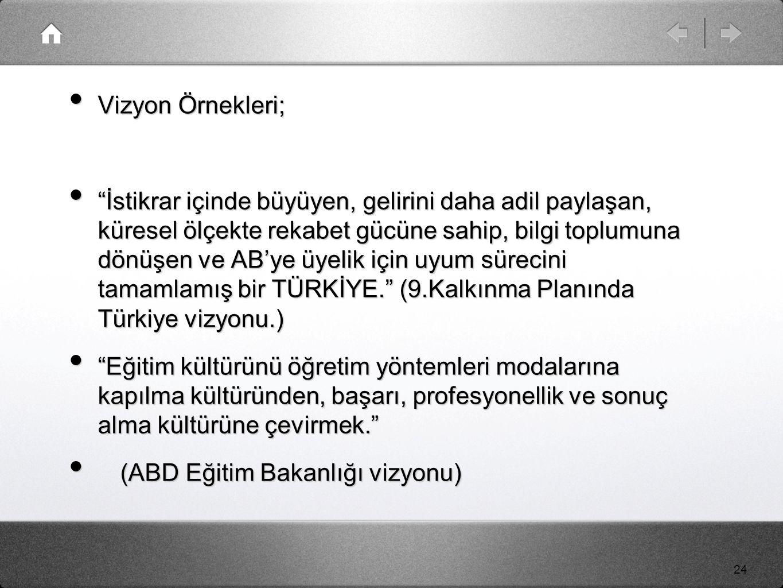 24 Vizyon Örnekleri; Vizyon Örnekleri; İstikrar içinde büyüyen, gelirini daha adil paylaşan, küresel ölçekte rekabet gücüne sahip, bilgi toplumuna dönüşen ve AB'ye üyelik için uyum sürecini tamamlamış bir TÜRKİYE. (9.Kalkınma Planında Türkiye vizyonu.) İstikrar içinde büyüyen, gelirini daha adil paylaşan, küresel ölçekte rekabet gücüne sahip, bilgi toplumuna dönüşen ve AB'ye üyelik için uyum sürecini tamamlamış bir TÜRKİYE. (9.Kalkınma Planında Türkiye vizyonu.) Eğitim kültürünü öğretim yöntemleri modalarına kapılma kültüründen, başarı, profesyonellik ve sonuç alma kültürüne çevirmek. Eğitim kültürünü öğretim yöntemleri modalarına kapılma kültüründen, başarı, profesyonellik ve sonuç alma kültürüne çevirmek. (ABD Eğitim Bakanlığı vizyonu) (ABD Eğitim Bakanlığı vizyonu)