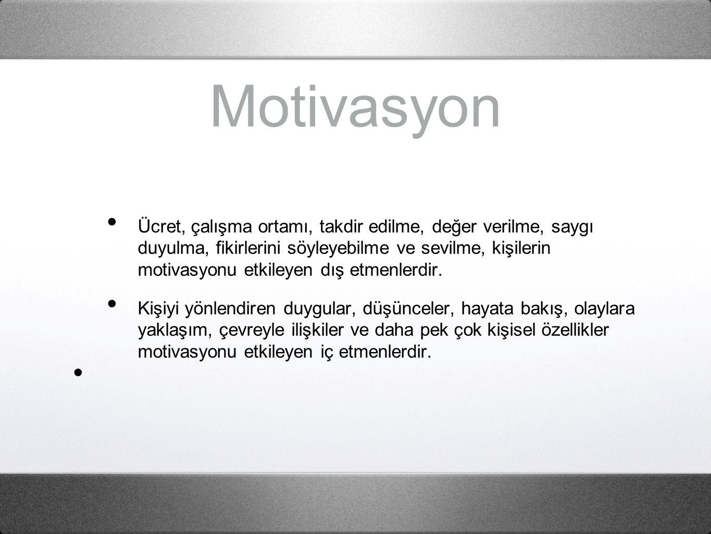 Motivasyon Ücret, çalışma ortamı, takdir edilme, değer verilme, saygı duyulma, fikirlerini söyleyebilme ve sevilme, kişilerin motivasyonu etkileyen dış etmenlerdir.