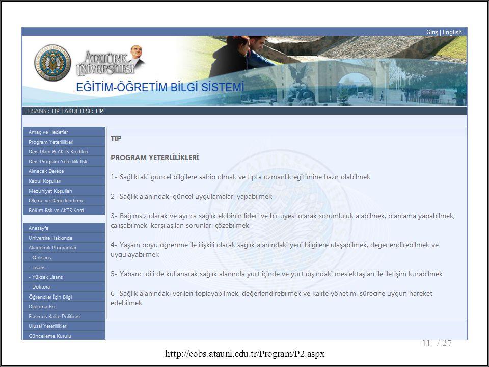 / 2711 http://eobs.atauni.edu.tr/Program/P2.aspx