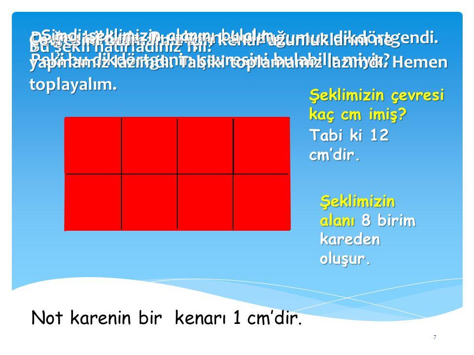 7 Bu şekli hatırladınız mı? Şeklimizin alanı 8 birim kareden oluşur. Doğru bildiniz. Bu alanını bulduğumuz dikdörtgendi. Peki bu dikdörtgenin çevresin